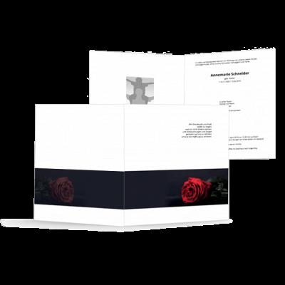 Trauerbrief - hochwertige und stilvolle Vorlagen Rote Rose