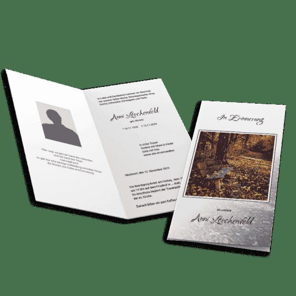 Trauerklappkarte Bank 4seitig