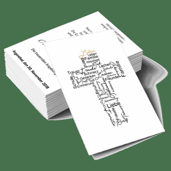 Gedenkbild Wörter Trauer Kreuz 2 Seiten