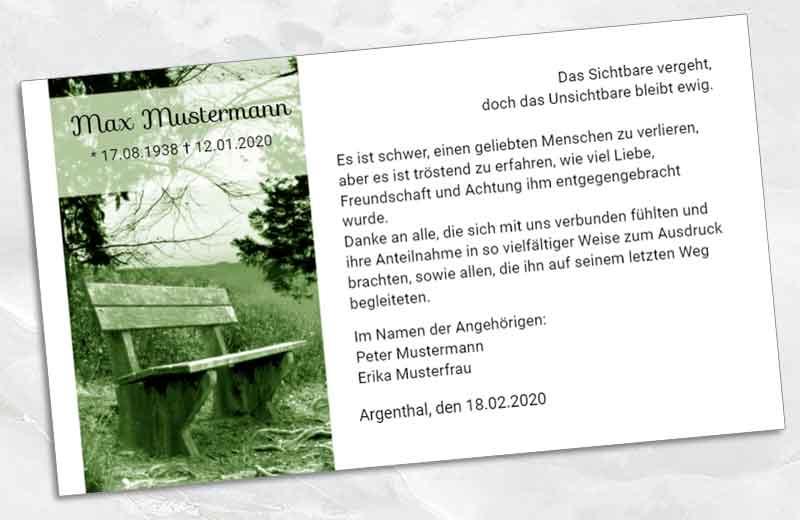 Dankeskarte Trauer Bank am Wegrand