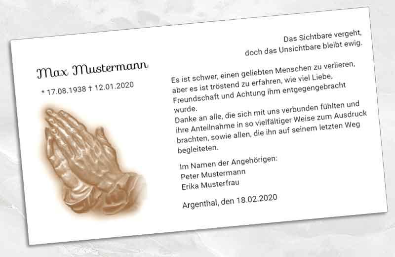 Dankeskarte Trauer betende Hände