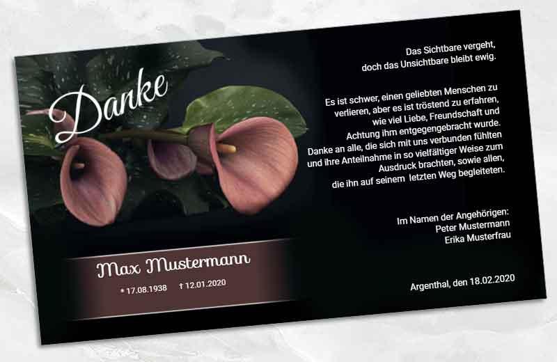 Trauer Danksagungskarte Calla