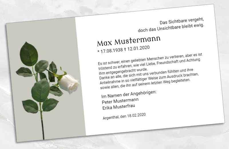 Trauer Dankeskarte geknickte Rose