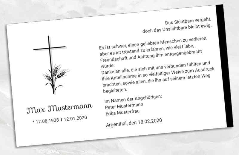 Dankeskarte Trauer Kreuz mit Ähren