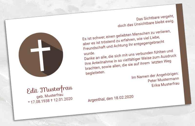 Trauer Danksagungskarte Kreuz im Kreis