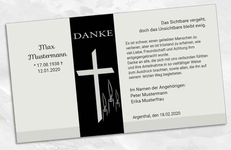 Trauer Danksagungskarte Kreuz mit Kerzen