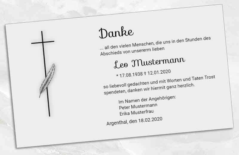 Trauer Dankeskarte Kreuz und Palme