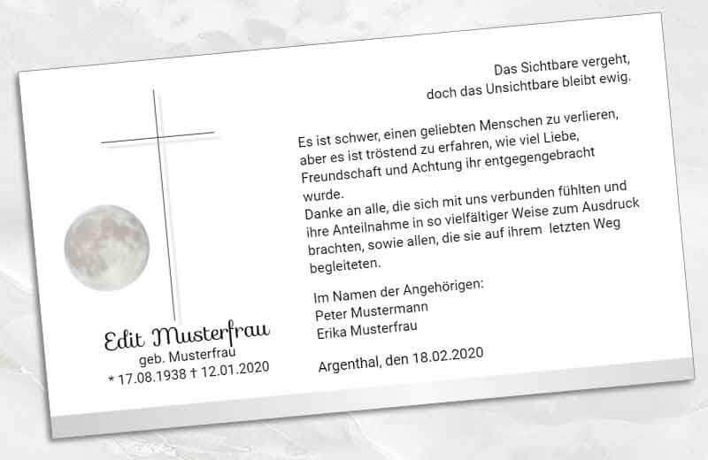Trauer Danksagungskarte Kreuz mit Weltkugel