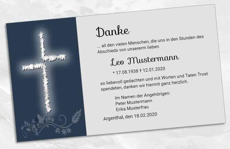 Trauer Danksagungskarte modernes Kreuz