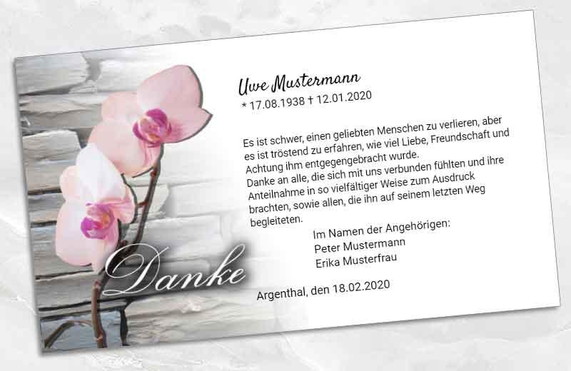 Dankeskarte Trauer Orchidee vor Schiefermauer