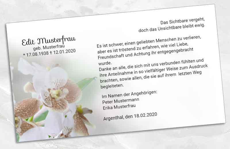 Trauer Danksagungskarte Orchidee