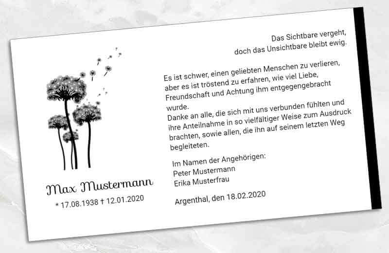 Trauer Danksagungskarte Pusteblumen