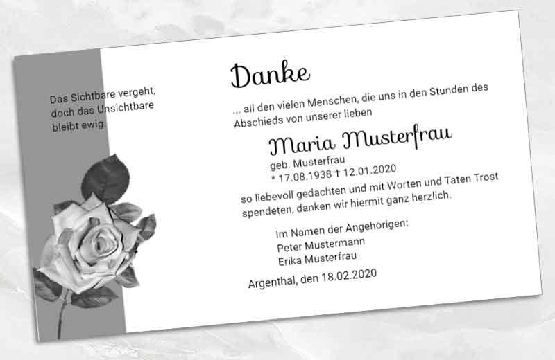 Dankeskarte Trauer schwarze Rose