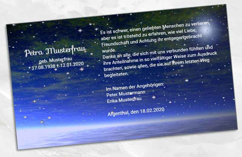 Dankeskarte Trauer Sternenhimmel