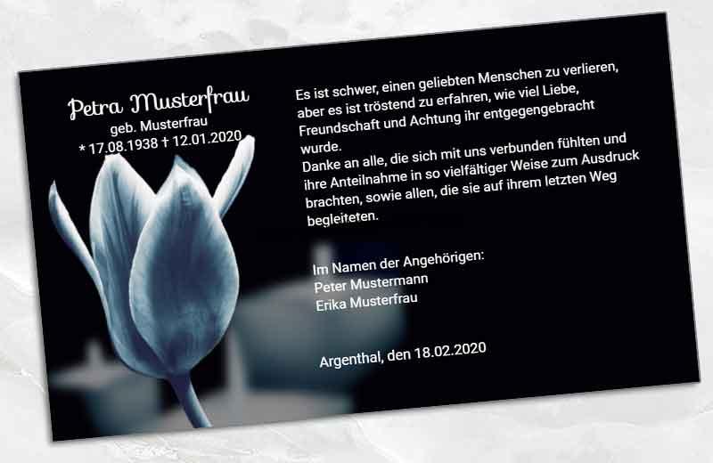 Dankeskarte Trauer schwarze Tulpe