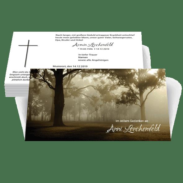 Trauerkarte Trauerdruck Baum