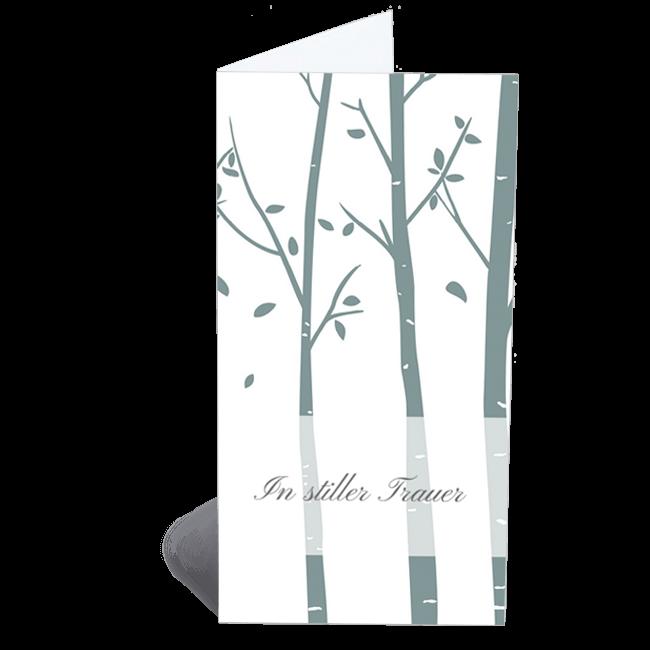 Trauerkarten Klappkarten Baumstämme