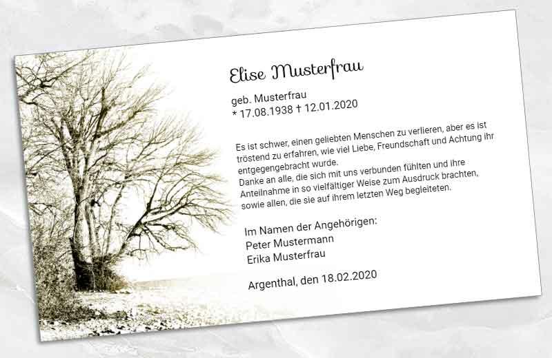 Dankeskarte Trauer Winterbaum