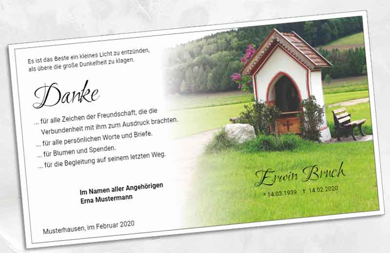 Trauer Danksagungskarte Kapelle
