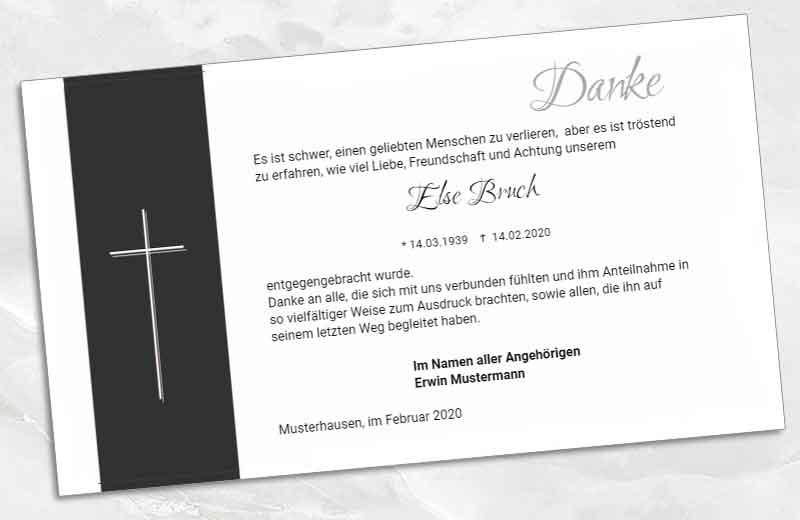 Trauer Danksagungskarte Doppelkreuz