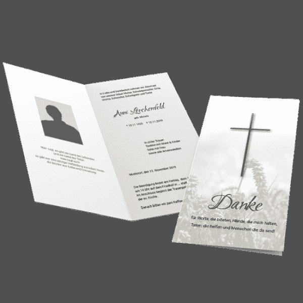 Trauerdanksagung Kreuz Ährenfeld