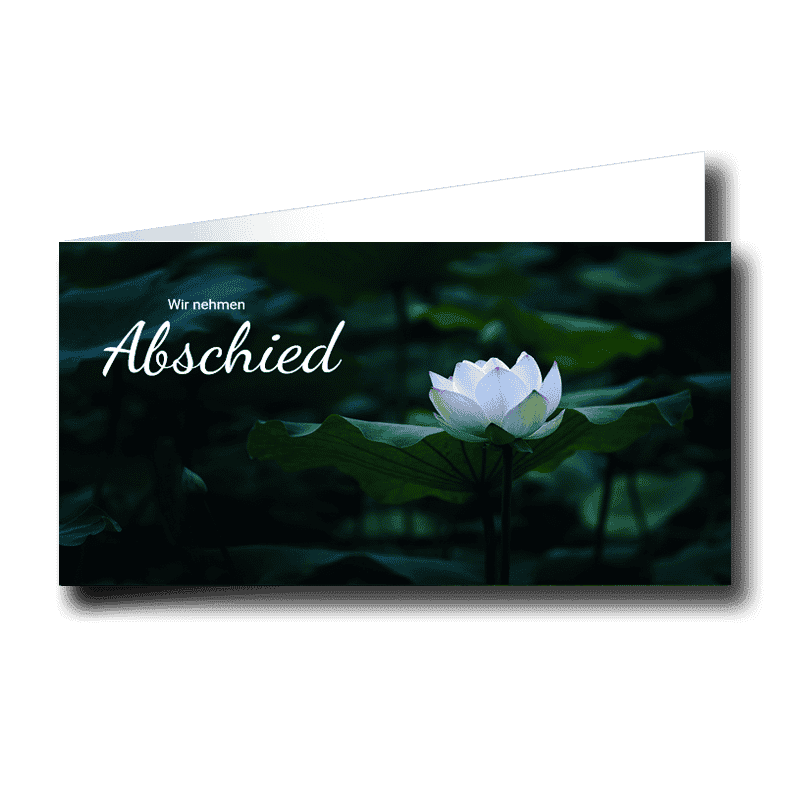 Trauerkarte Dickicht mit weißer Seerose