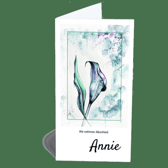 Trauerkarte Calla modern Kunst