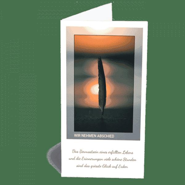 Trauerkarte Feder im Sand