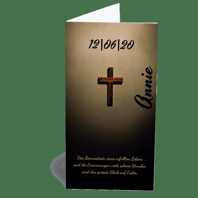 Trauerkarte Holzkreuz