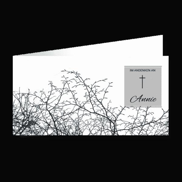 Trauerkarte Dornen in schwarz-weiß