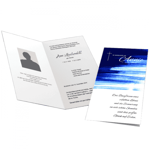 Trauerkarte blaues Aquarell