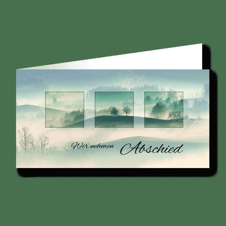 Trauerkarte Einblicke Hügellandschaft Nebel
