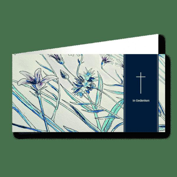 Trauerkarte Blumen moderne Kunst
