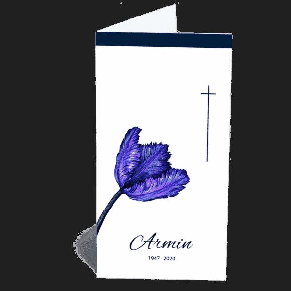 Trauerkarte Klappkarte Lila Blume