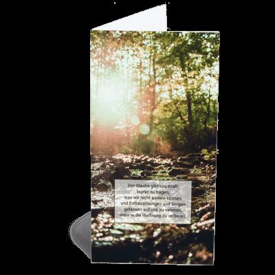 Trauerkarte Klappkarte Waldbach Licht