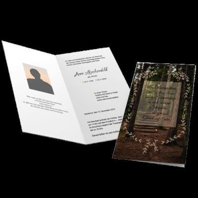 Trauerkarte Klappkarte Wald Treppe