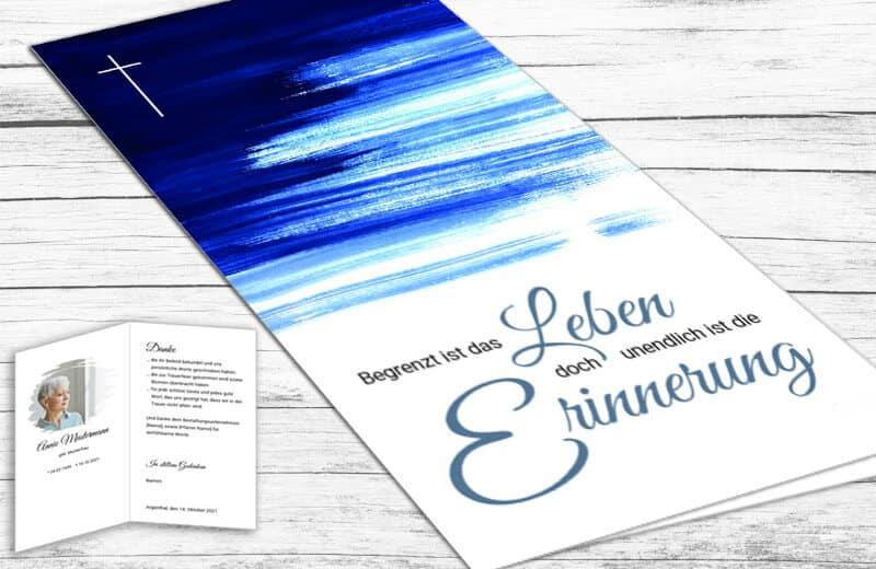 Trauerdanksagung 4seitig Aquarell blau