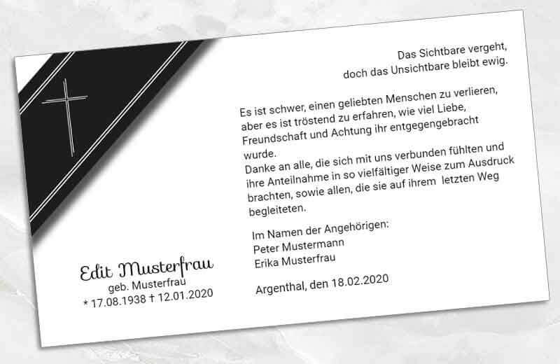Trauer Dankeskarte Trauerschleife mit Kreuz