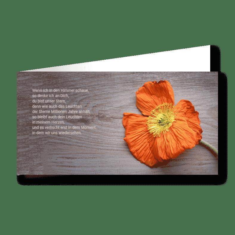 Trauerkarte Blume Kind