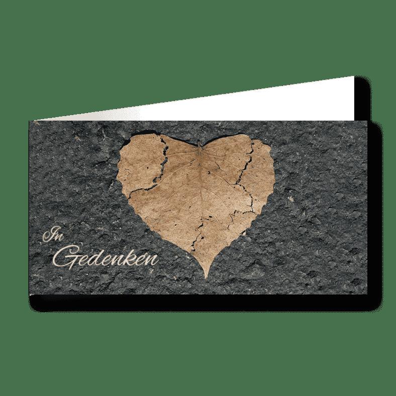 Trauerkarte Blatt in Herzform