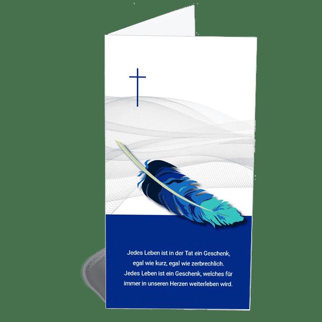 Trauerkarte modern in blau mit Feder Klappkarte