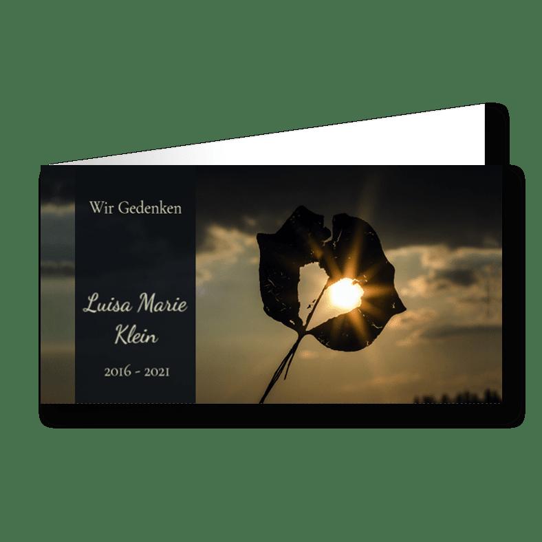 Trauerkarte Sonnenstrahlen