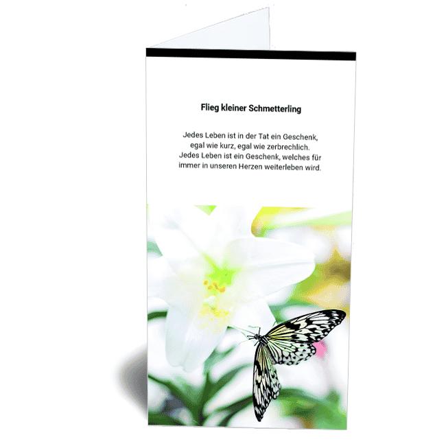 Trauerkarte Schmetterling Erinnerung an ein Kind