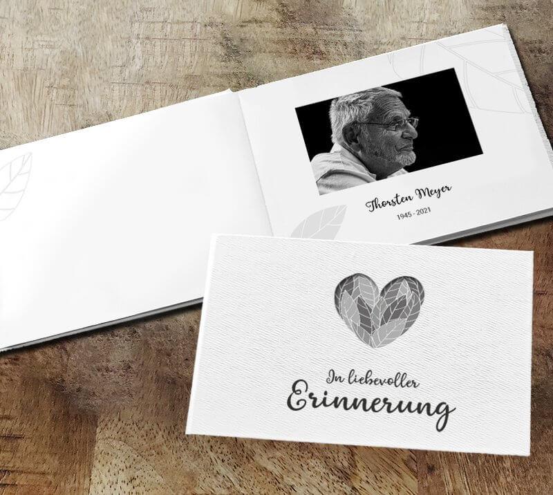 Gedenkbuch Herz mit Fotos
